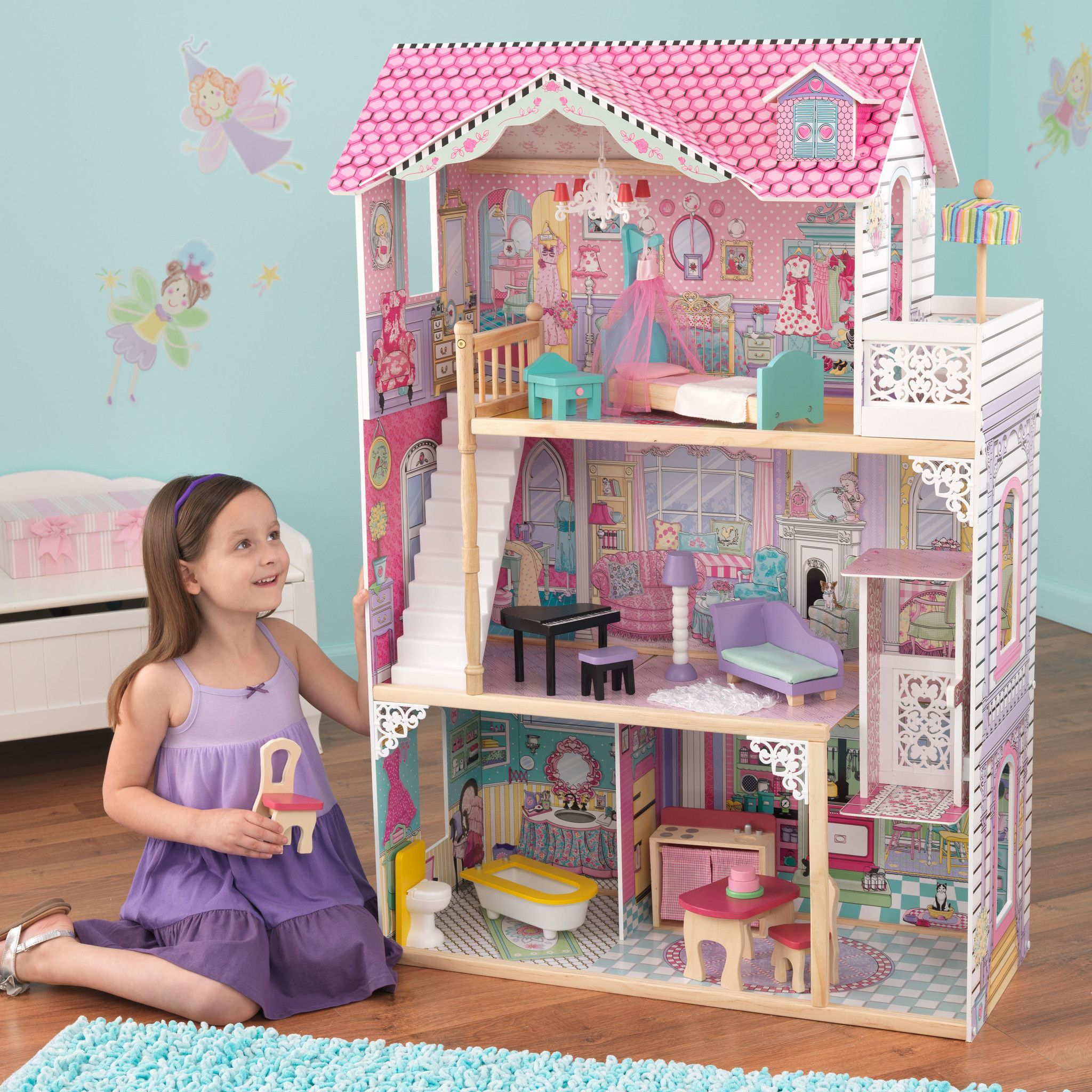 Delightful Kid Kraft Annabelle Dollhouse With Furniture   65079