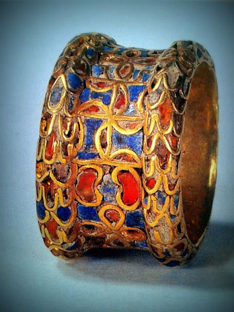 Sumerian Cloisonné Ring, Iraq, ca. 3000 BCE. (Louvre Paris Reunion des Musees National/Art Resource, New York/Photograph by Zeva Oelbaum). Possibly a wedding ring. *Cloisonné is an ancient technique for decorating metalwork objects, in recent centuries using porcelain enamel, and in older periods also inlays of cut gemstones, glass and other materials.