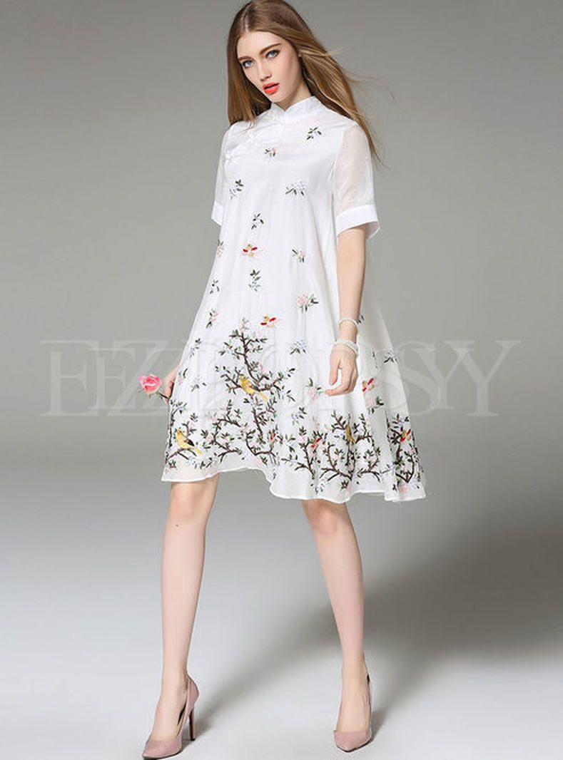 ff30f3a68 Embroidery Improved Cheongsam Loose Dress in 2019 | 旗袍cheongsam ...