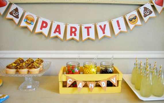 PDF Emoji Party Cootie Catcher Camera Lens Buddy Printable Birthday Bunting