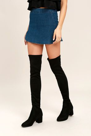 f300124685d Steve Madden Isaac Black Suede Over the Knee Boots 1