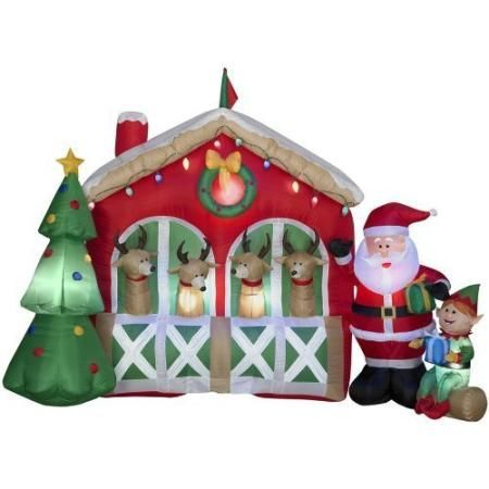 6 Ft Inflatable Fabric Reindeer Stable Inflatable Airblown - outside christmas decorations sale