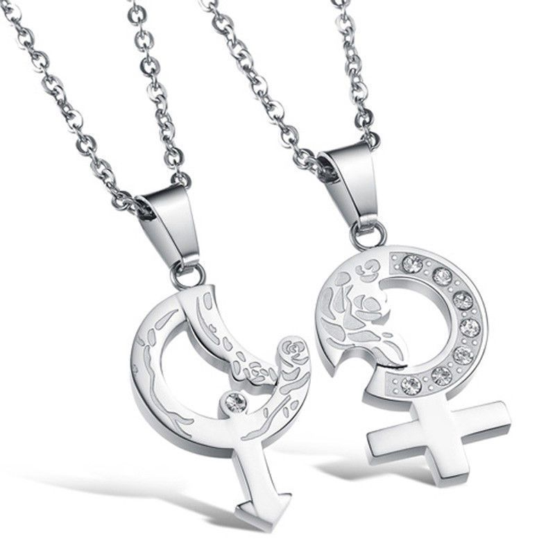 2pc Heart And Arrow Couple Necklace Set His Hers Boyfriend