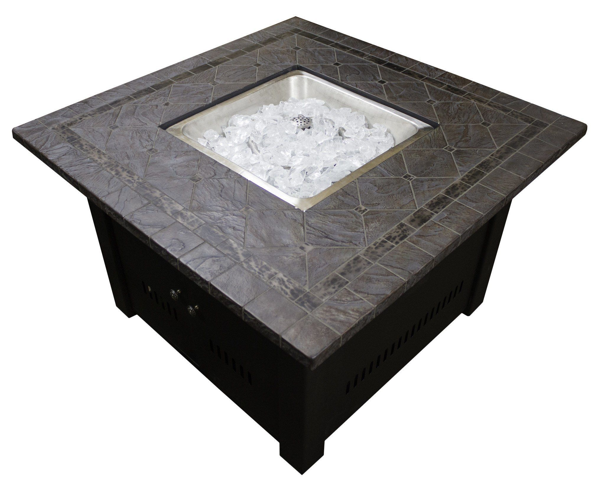 40 inch square faux stone propane fire pit table 40 000 btu fire