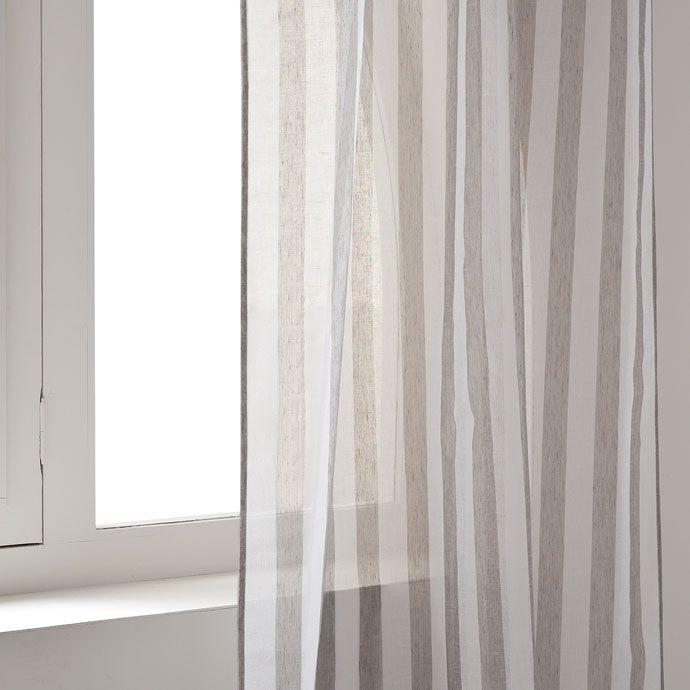 Transparente gardine mit streifen gestreifte Vorhänge - gardinen modern wohnzimmer schwarz weis