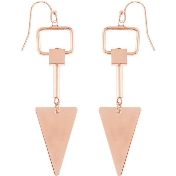 Accessorize Clean Arrow Elaborate Earrings ($12) ❤ liked on Polyvore featuring jewelry, earrings, earring jewelry, rose gold tone jewelry, rose gold tone earrings, geometric earrings and drop earrings