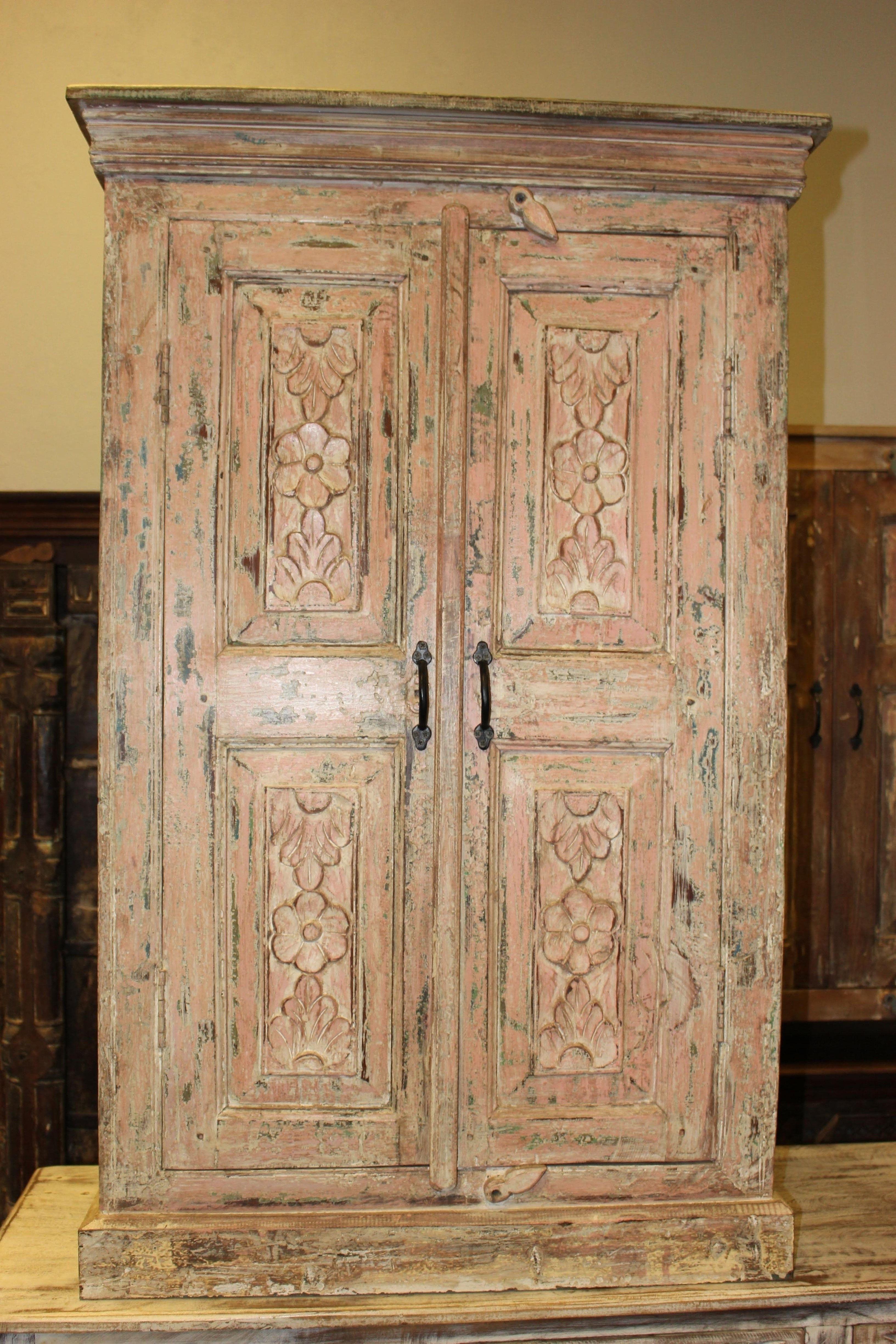 Antique Cabinet Farmhouse Rustic Original Wooden Accent Armoire