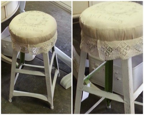 Love the lace added to this old metal stool refurbished with paint, fabric and vintage goodness.