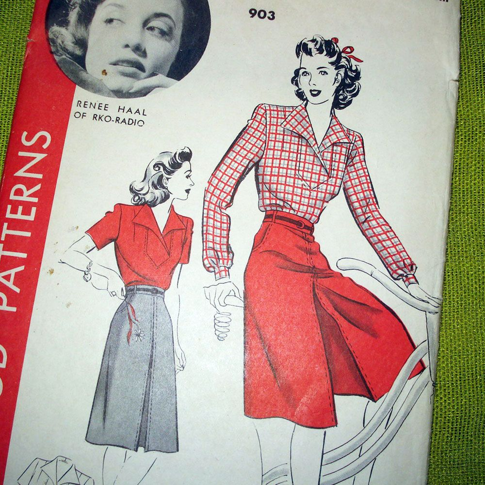 1940 Vintage Sewing Pattern - Culotte Skirt and Blouse - Film Noir ...