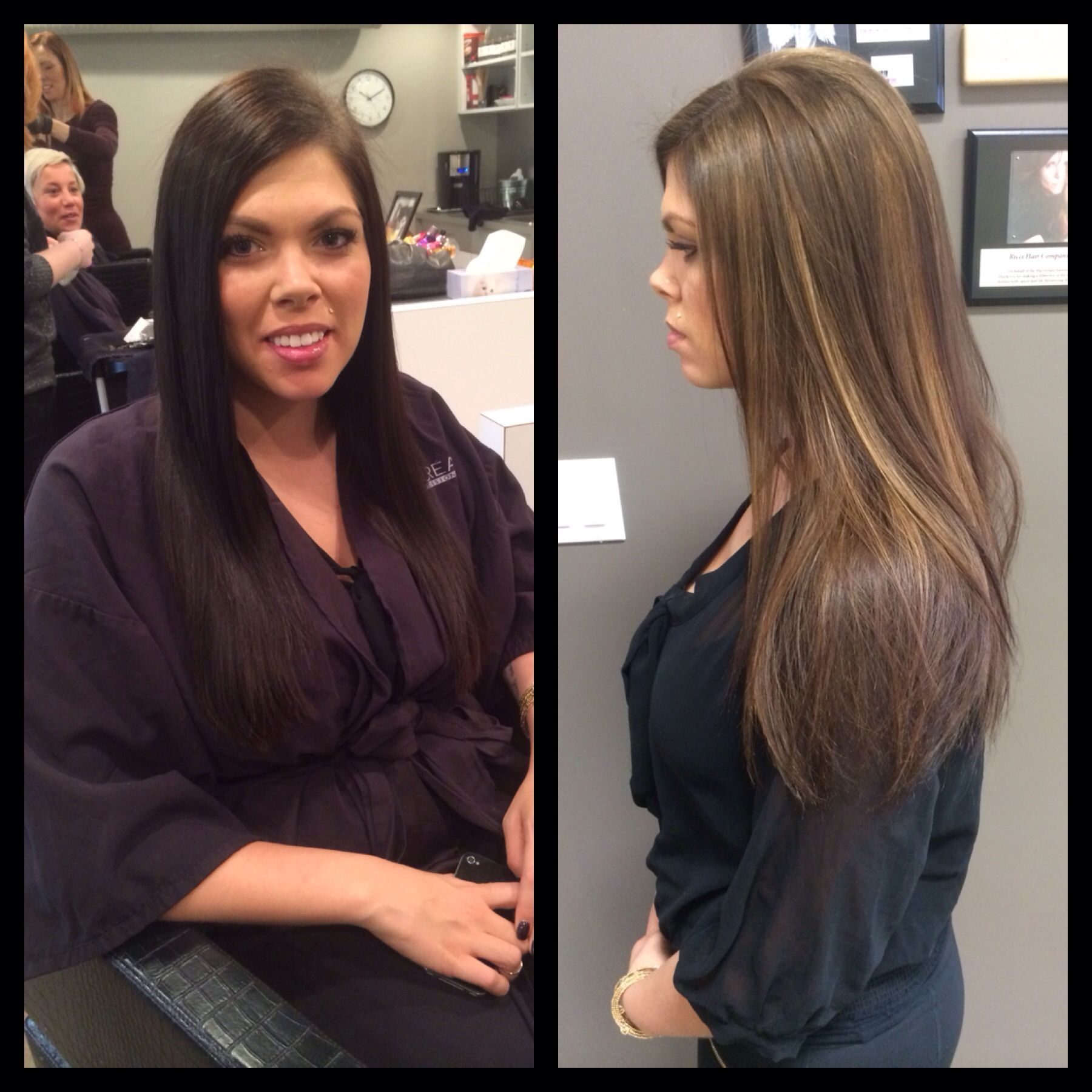 Dark Hair With Highlights Before And After Dark To Light