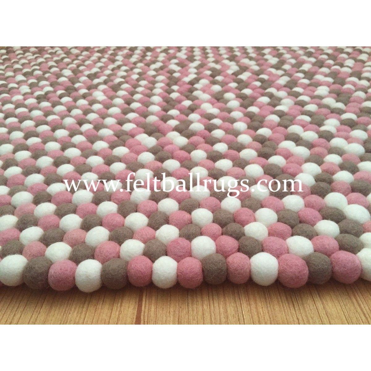 Gray Pink White Felt Ball Rug   Felt Ball U0026 Rugs