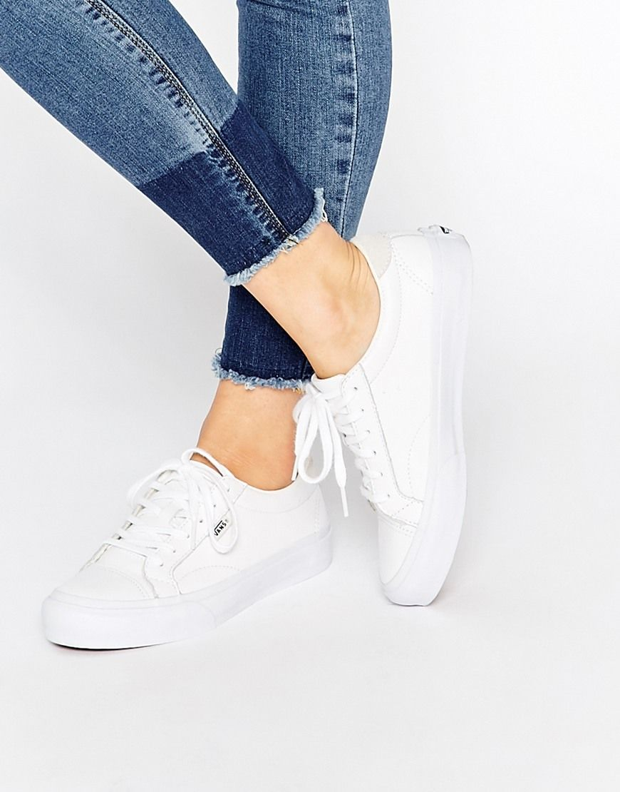 Vans White Leather Court Trainers at asos.com