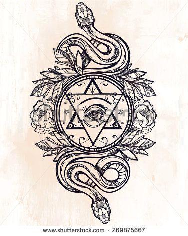 Vintage Hand Drawn Masonic Symbol All Seeing Eye The Star Laurel