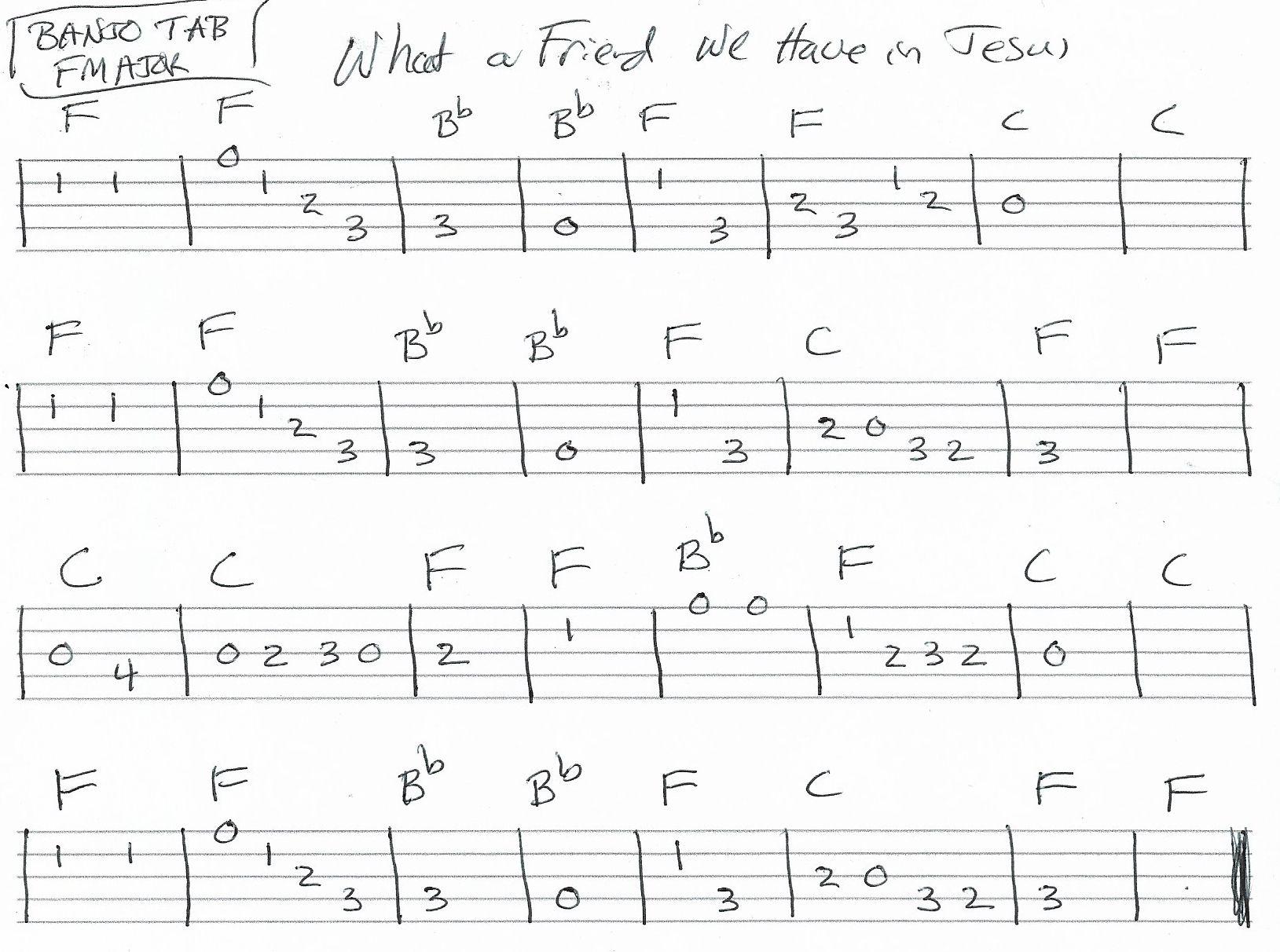 What A Friend We Have In Jesus Banjo Tab Vocal Melody F Major Banjo Tabs Banjo Music Banjo