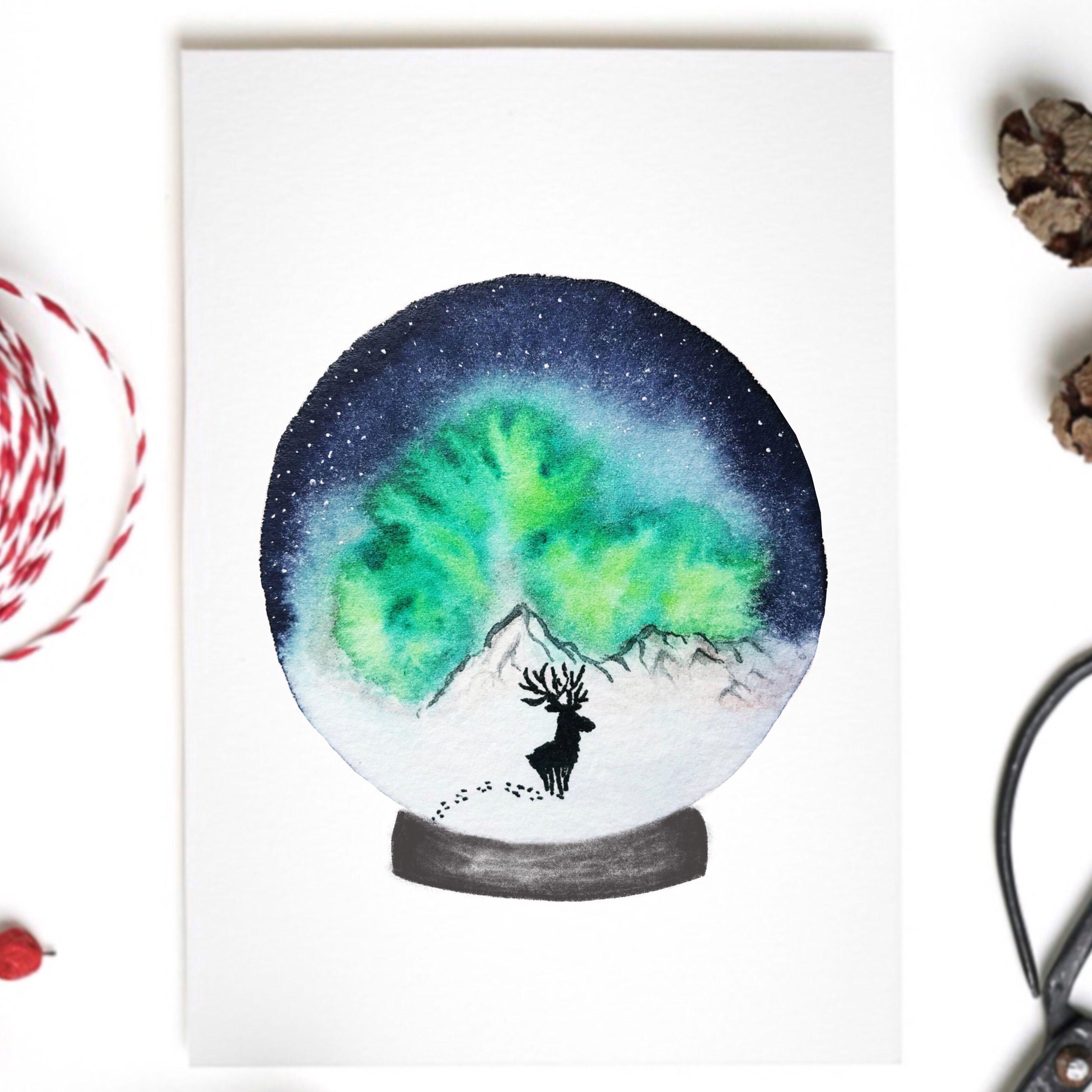 Weihnachtskarte Schneekugel Hirsch Elch Watercolor Wasserfarben