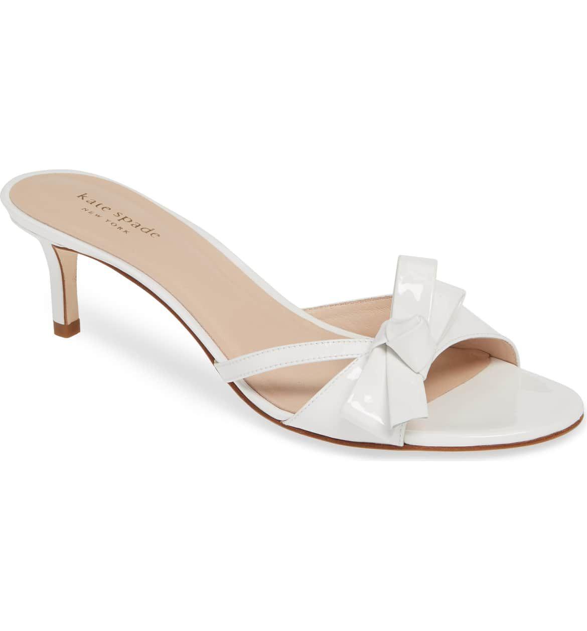 Simona Bow Slide Sandal Main Color White Patent Kitten Heel Sandals White Sandals Heels Kate Spade Women