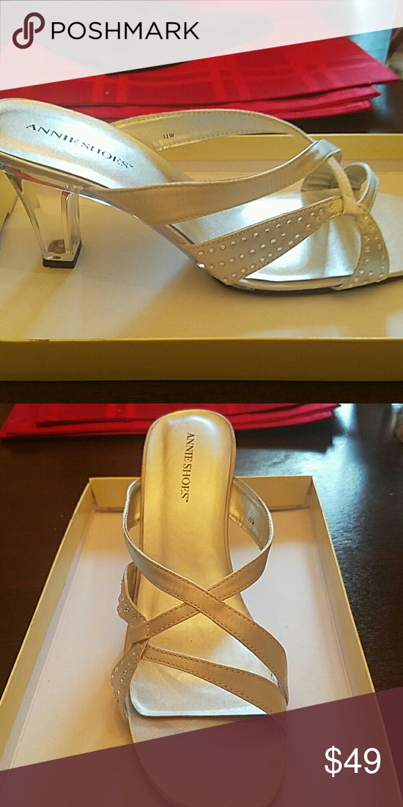 Silver Satin Clear Heel Annie Shoes