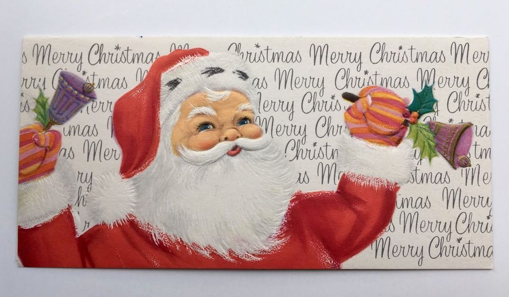 vintage mid century christmas card santa claus purple bell holly stripe mitten - Office Depot Christmas Cards