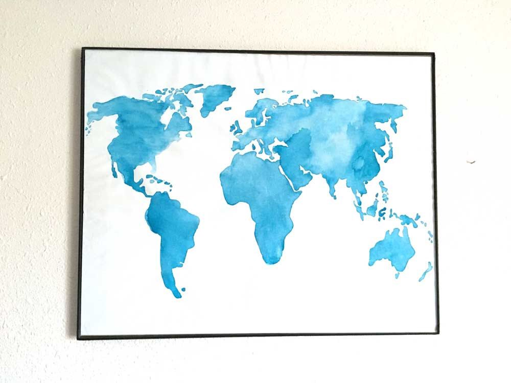 World map watercolor watercolor map print rainbow world map world giant watercolor world map home decor hand painted on kinsey jane creates etsy shop https gumiabroncs Gallery