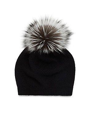 cd9543624 Portolano Wool Blend Fur Pom-Pom Hat - Oatmeal - Size No Size ...