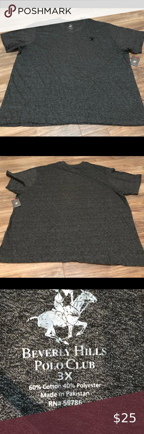 Beverly Hills Polo Club Shirt Gray T Shirt With Logo On Front Beverly Hills Polo Club Shirts Tees Short Sleeve Beverly Hills Polo Club Club Shirts Polo Club