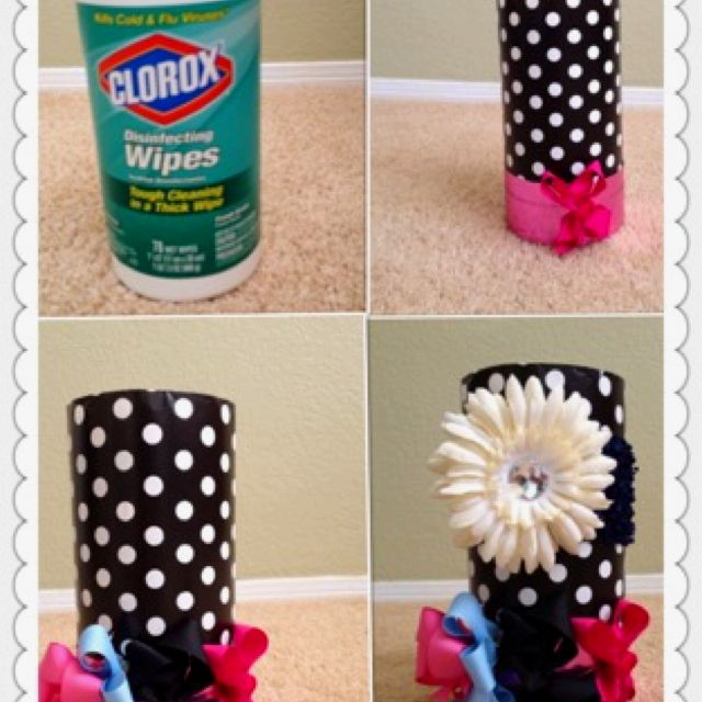 Do it yourself bow and head band holder. Place extra bows and hair ties inside.