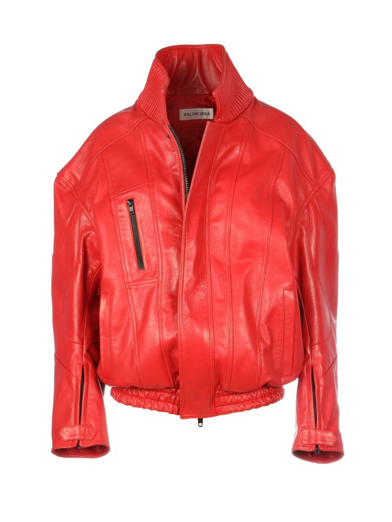 Balenciaga Leather Jacket In Red