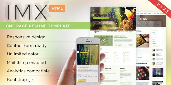 IMX - Responsive HTML5 Resume Template v121  IMX has features - wordpress resume template