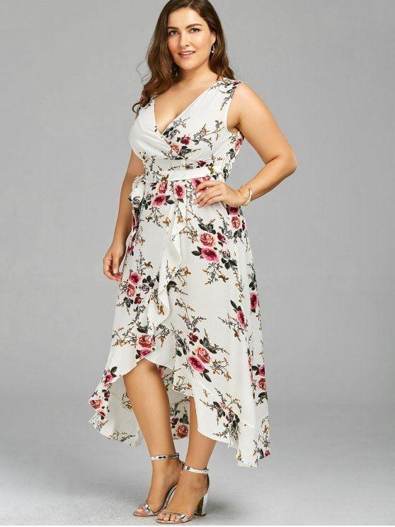 Plus Size Tiny Floral Overlap Flounced Flowy Beach Dress ...