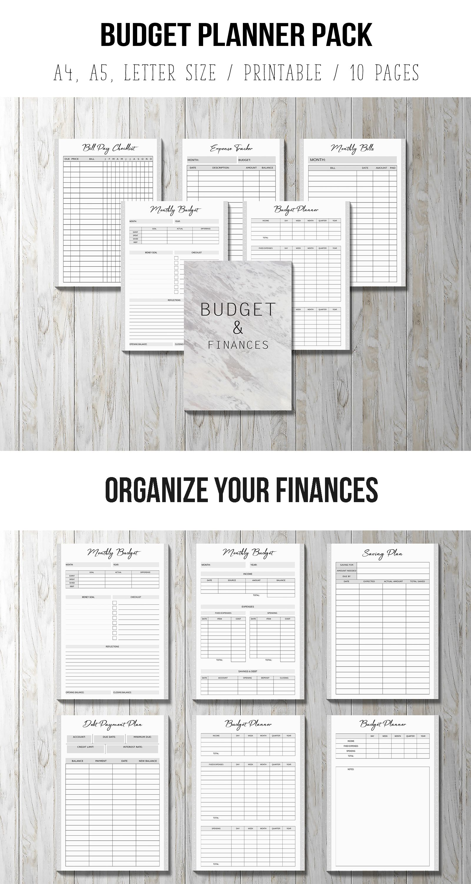budget planner printable bill organizer printable finance planner