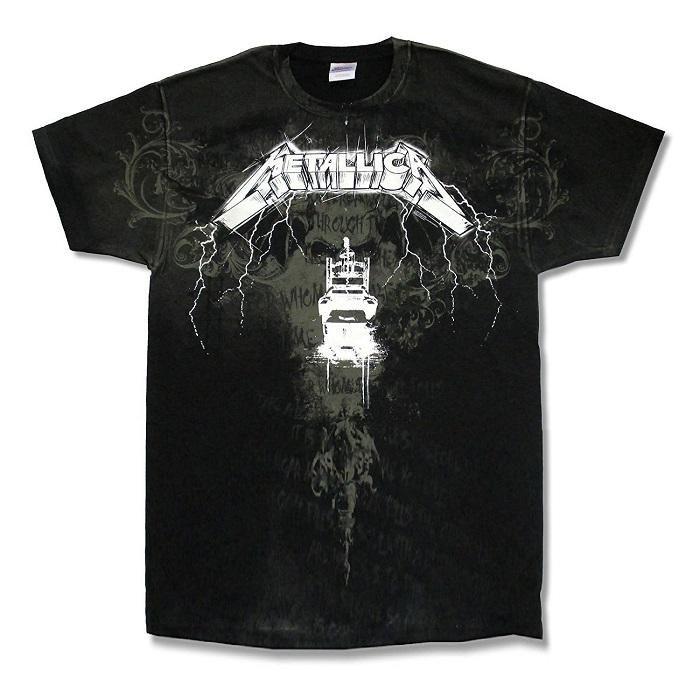 830152ec Metallica Ride The Lightning Lyrics All Over Men's T-shirt | Heavy ...