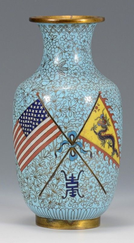 "Great White Fleet Imperial Chinese cloisonne vase, depicting the crossed flags of America and China with the Longevity character mark, all on a blue floral ground. 8 1/4"" H. Circa 1908."