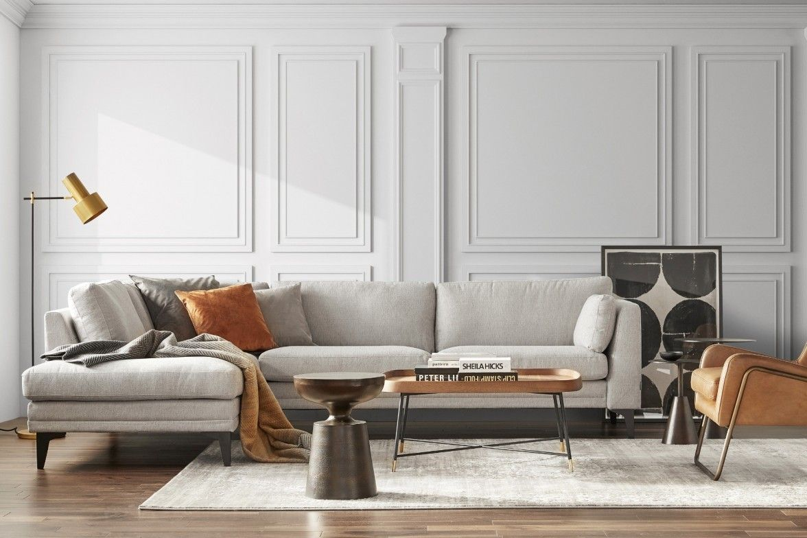 Home Societe Avignon Sectional Sofa In Chenille Fabric Maison Corbeil In 2020 Sectional Sofa Furniture Home
