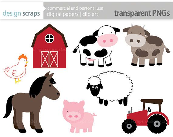 Farm Animal Clip Art Graphics Pig Horse Cows Chicken Sheep Tractor Barn Chick Cute Animals Digital Clipart Commercial Use
