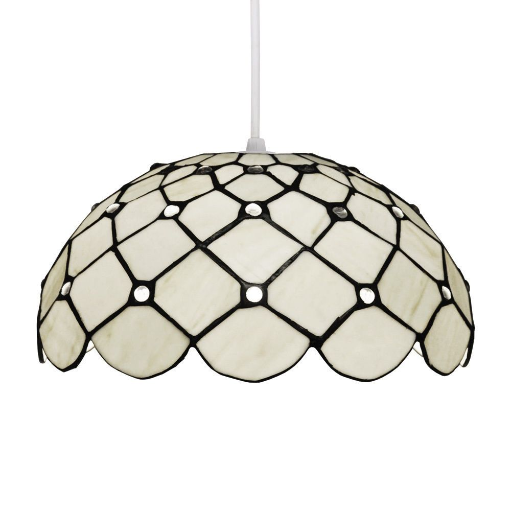 Traditional round cream white stained glass ceiling pendant light traditional round cream white stained glass ceiling pendant light lamp shade aloadofball Gallery