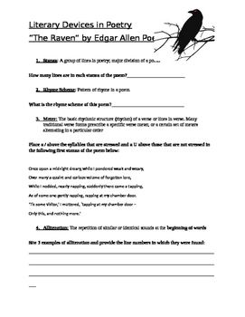 The Raven Poe Worksheet Mini Assignment Worksheets Middle