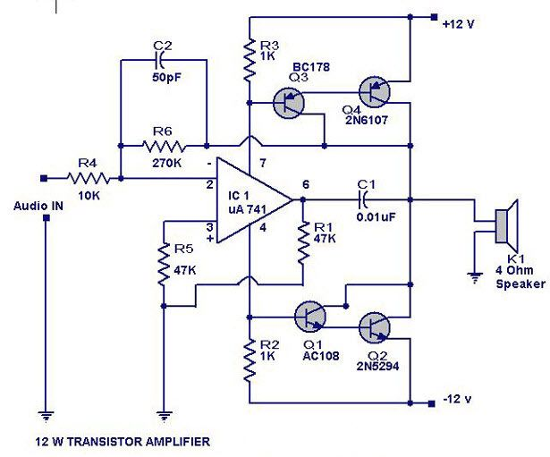 12 Watts Transistor Amplifier Circuit Diagram