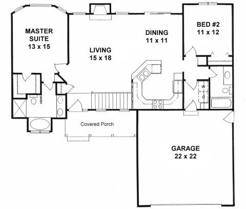 Plan 1179 ranch style small house plan 2 bedroom split for 2 bedroom house plans with garage and basement