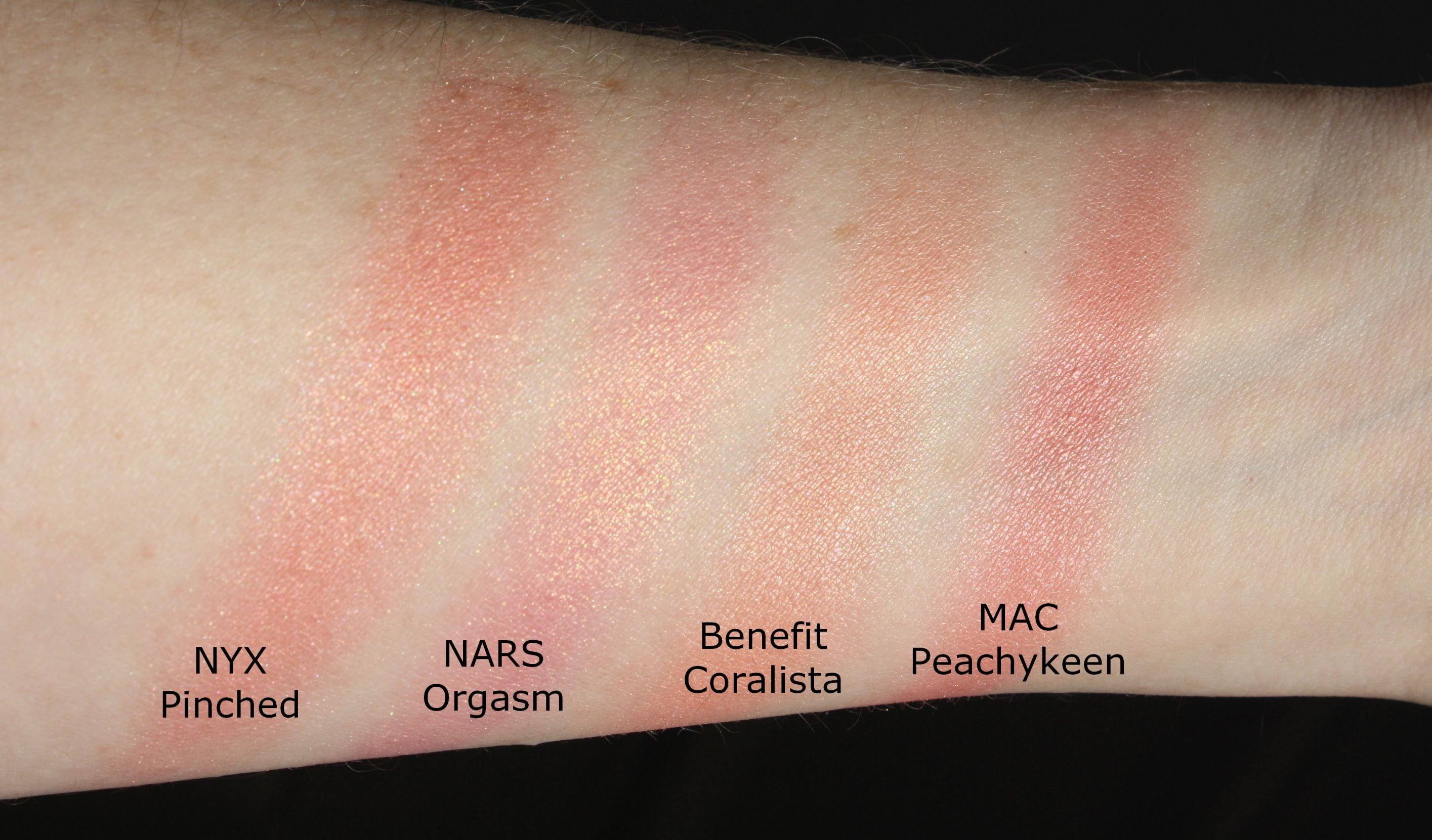 swatches NYX Pinched compared to NARS Orgasm, Benefit Coralista and MAC  Peachykeen