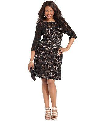 Xscape Plus Size Dress Three Quarter Sleeve Lace Plus Size