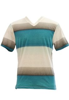 1897 Micro Stripe V-Neck T-Shirt for Men KV33201M Available in Reef Red and Atlantis