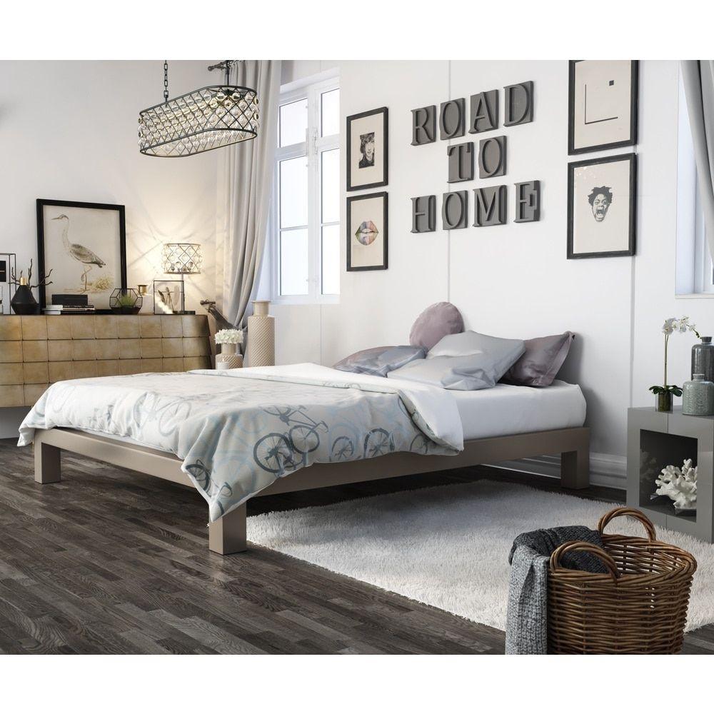 vesta champagne metal platform bed (queen) grey  metals  - metal platform bed