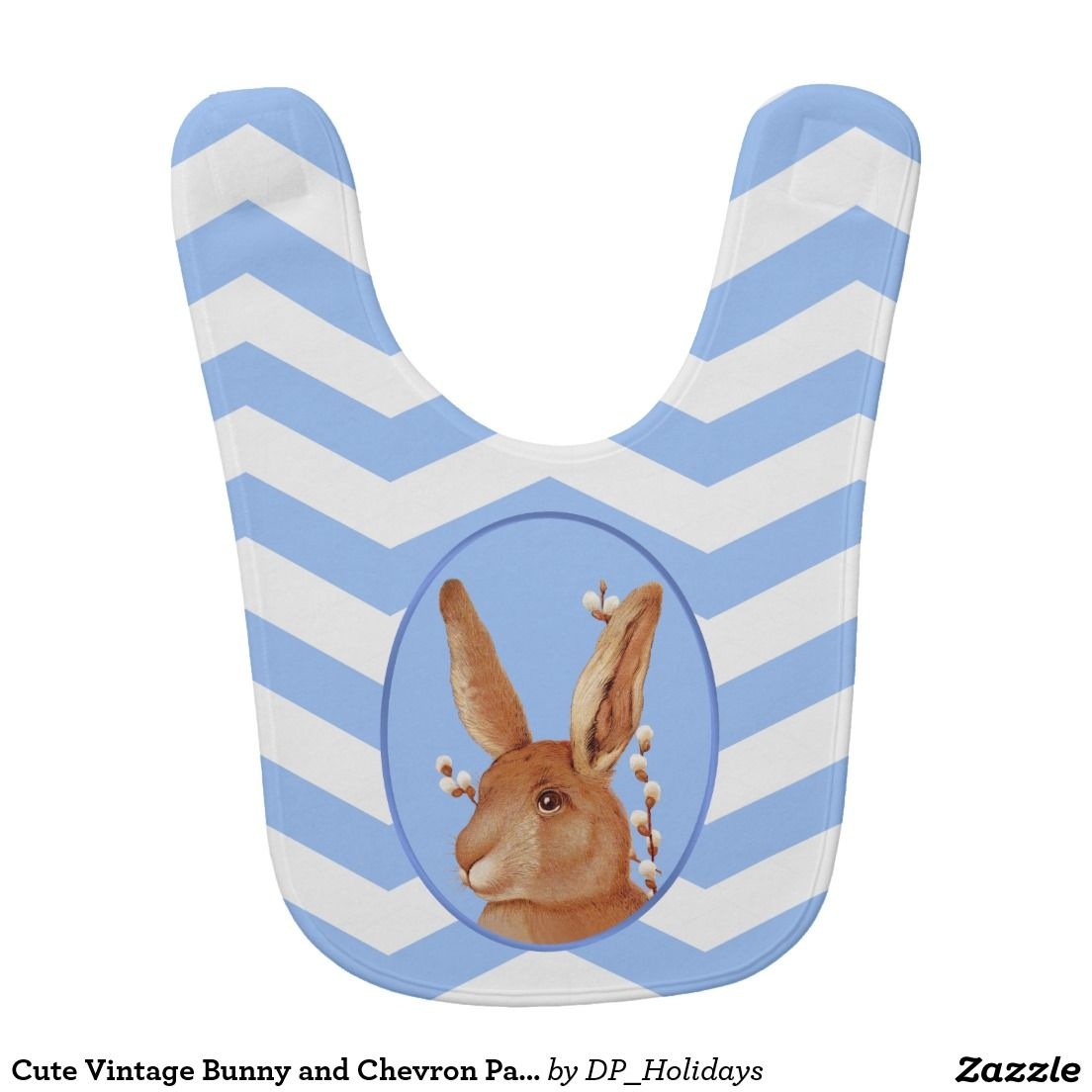 Cute Vintage Bunny and Chevron Pattern Baby Bibs