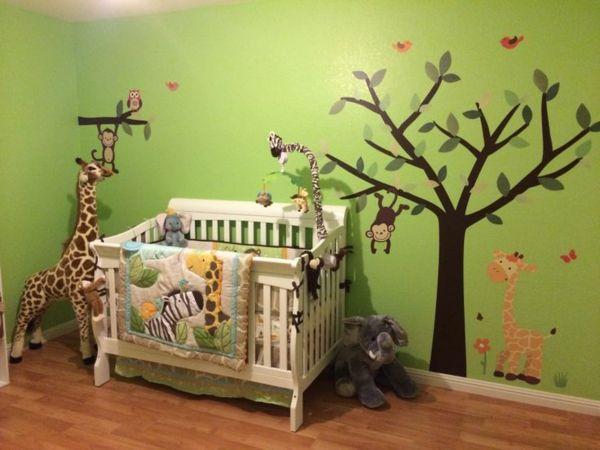 Babyzimmer junge grün  baum bemalung im babyzimmer - dschungel motive | Kinderzimmer ...