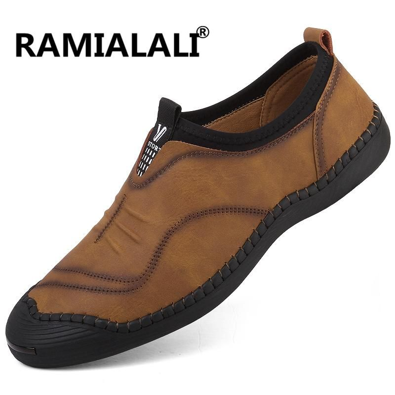 727a712230d Ramialali New Split Leather Men Casual Shoes Fashion Top Quality Driving  Moccasins Slip On Loafers Genuine Leather Men Shoes