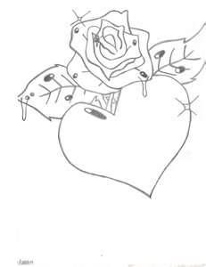 How To Draw A Heart With Rose Image Search Results Crafts