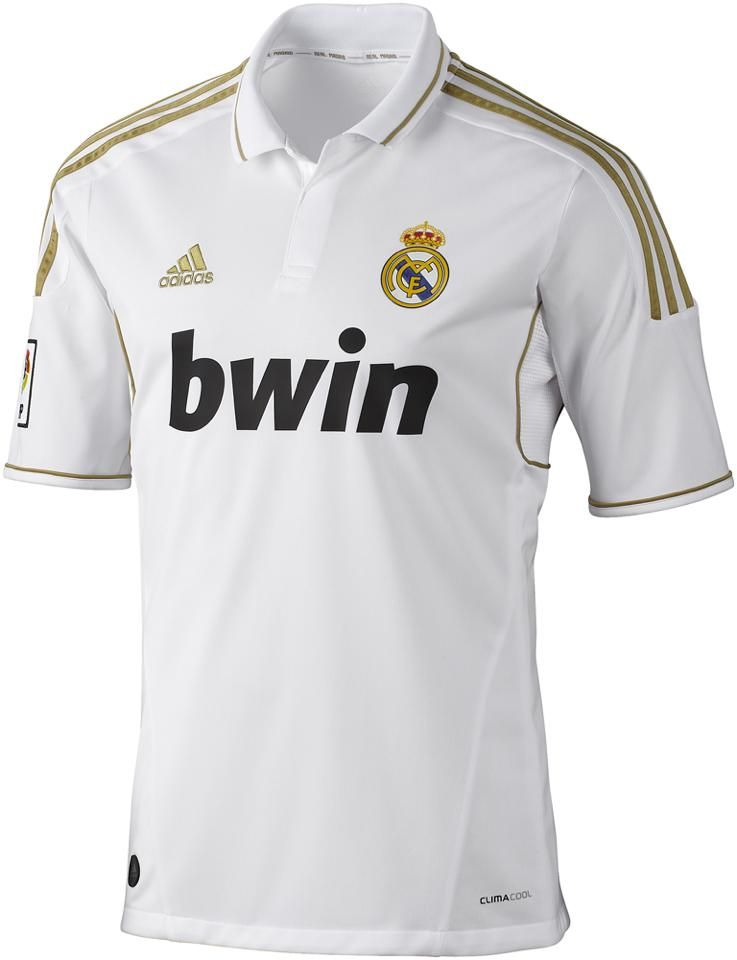 is the real madrid shirt, white color, with stamping of his shield and adidas  brand, has a golden color in ombros bands and sleeves