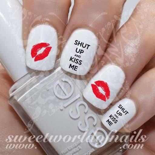 Valentine S Day Nail Art Shut Up And Kiss Me Red Lips Nail Water