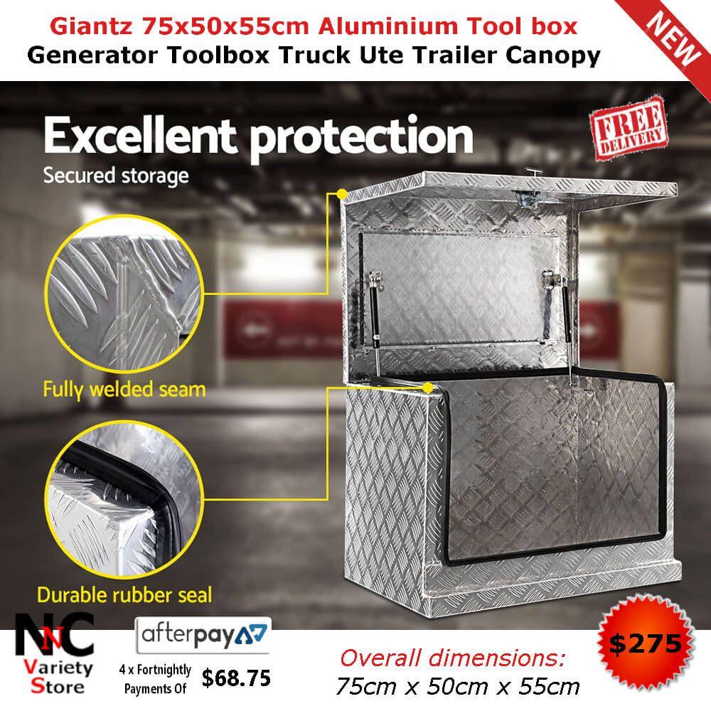 Giantz 75x50x55cm Aluminium Tool Box Generator Toolbox Truck Ute Trailer Canopy Truck Tool Box Tool Box Aluminum Hinges
