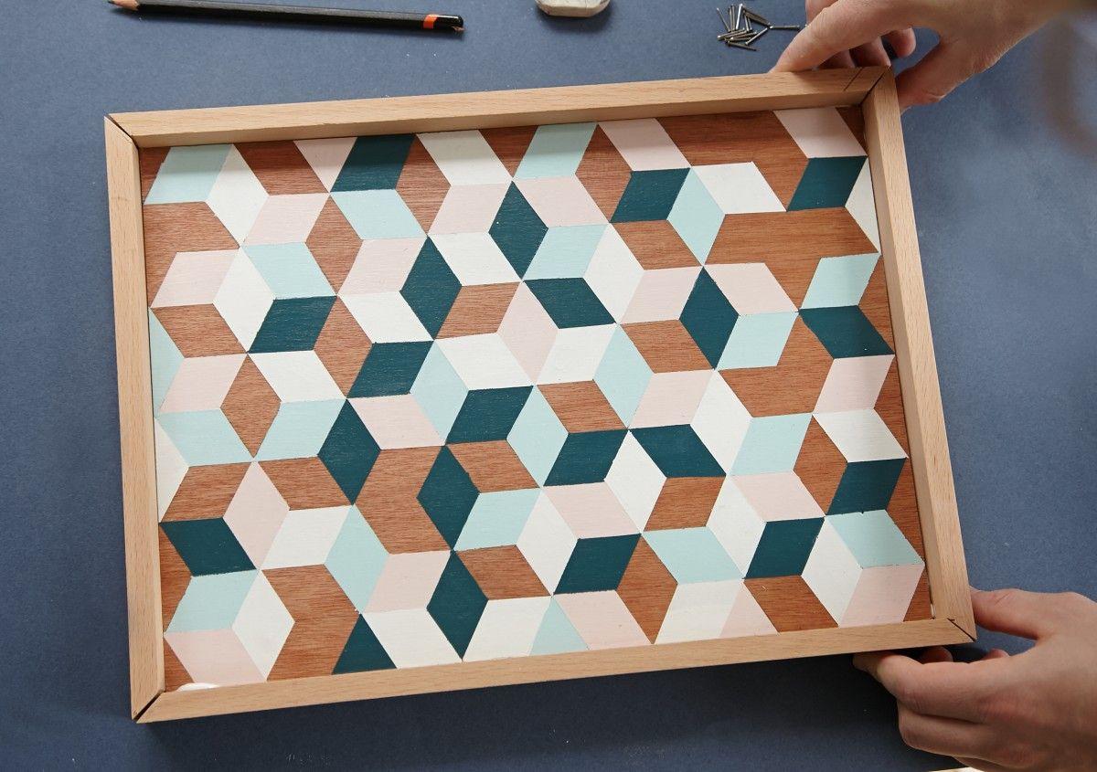 Diy plateau geometrique de my rainy days un blog for Deco peinture geometrique